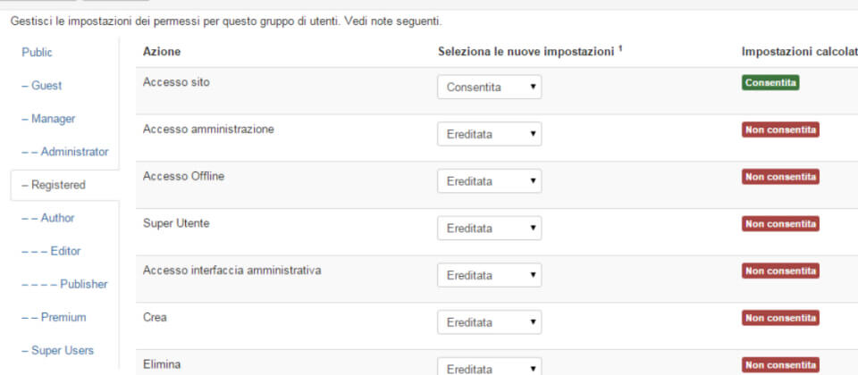 Come limitare permessi backend di Joomla
