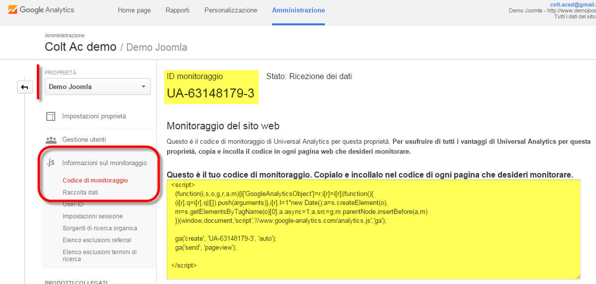 Google analytics monitoraggio