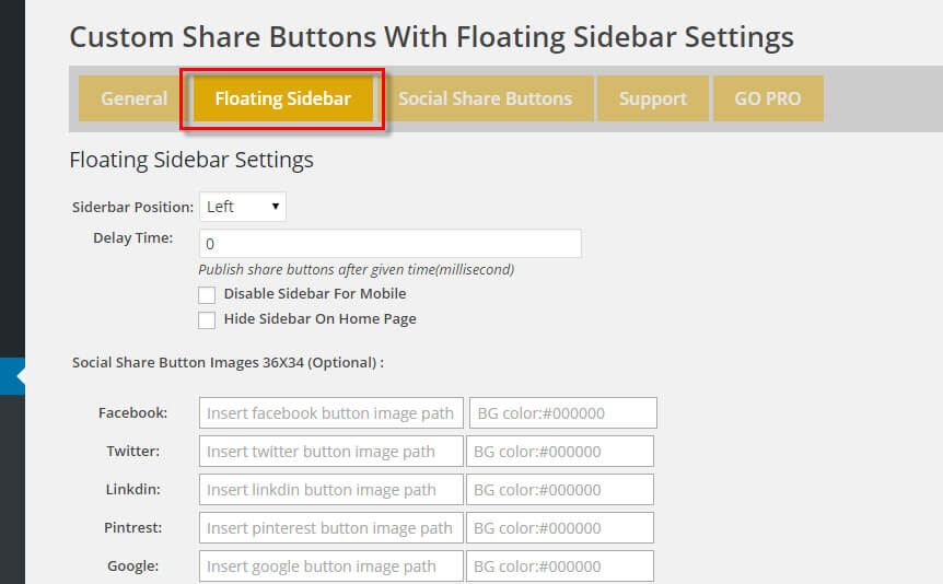 Custom Share Buttons with Floating Sidebar 5