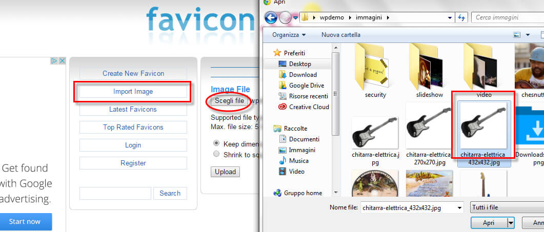 creare favicon wordpress 5