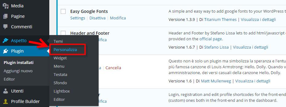 easy google fonts personalizza tema