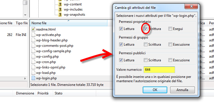 gestione permessi file wordpress