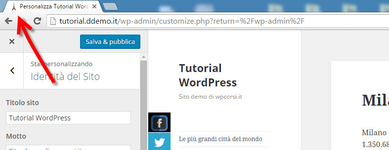 inserire favicon wordpress