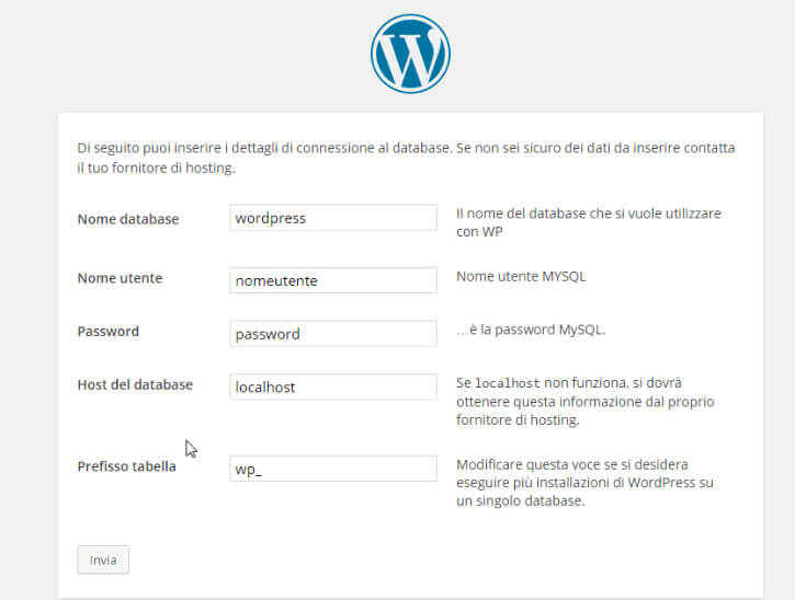 Installare WordPress database
