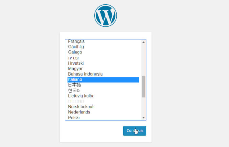 installazione wordpress