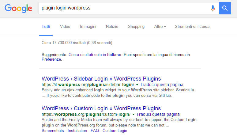 ricerca plugin wordpress google