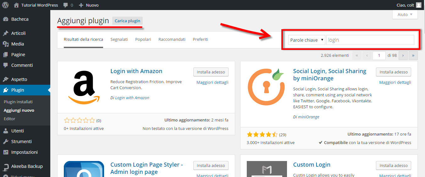 ricerca plugin wordpress
