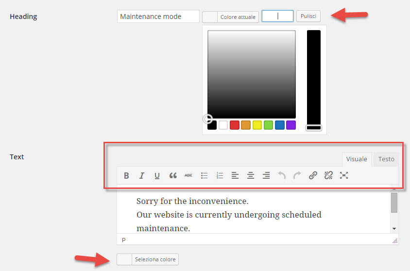 wp maintenance mode modificare design