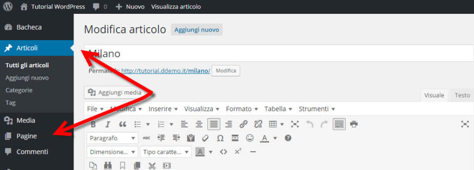 WordPress differenze articoli pagine